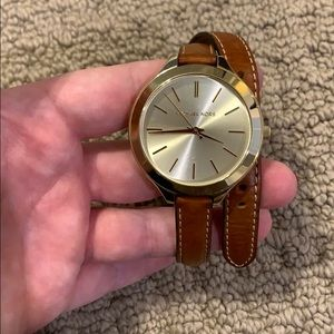Michael Kors Gold and Cognac Wrap Watch
